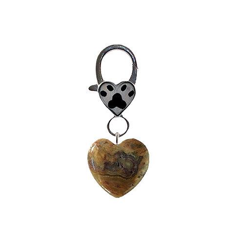 Natural Picture Jasper Heart Pet Charm