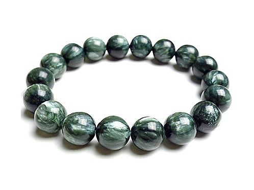 Natural Seraphinite Bracelet 10 mm, Grade AAA