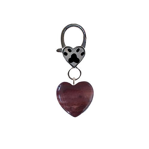 Natural Red Jasper Heart Pet Charm