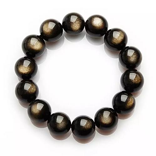 Natural Black Obsidian Bracelet 10 mm Grade AAA