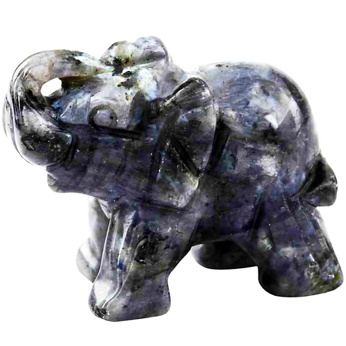 Natural Labradorite Carved Elephant 1.5 Inches