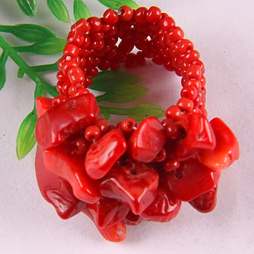 Natural Red Jasper Chips Adjustable Ring