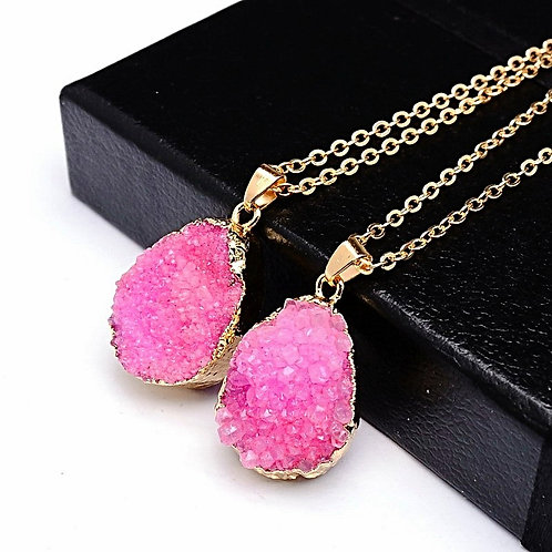 Natural Pink Druzy Geode Necklace