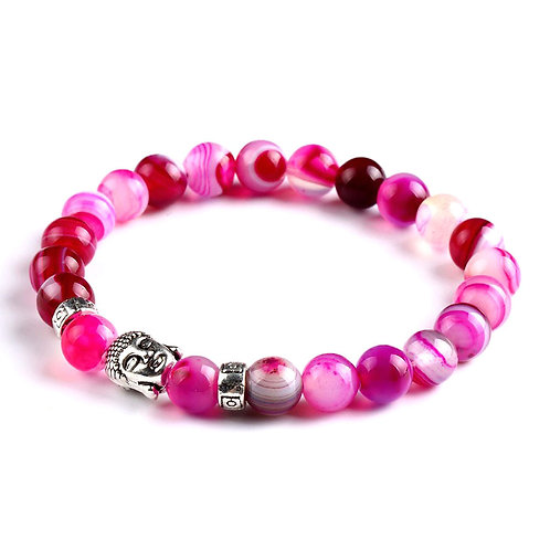 Natural Pink Agate Buddha Bracelet 8mm