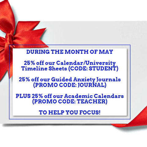 25% off during the month of May for Journals, College Sheets, & Academic Calendars!