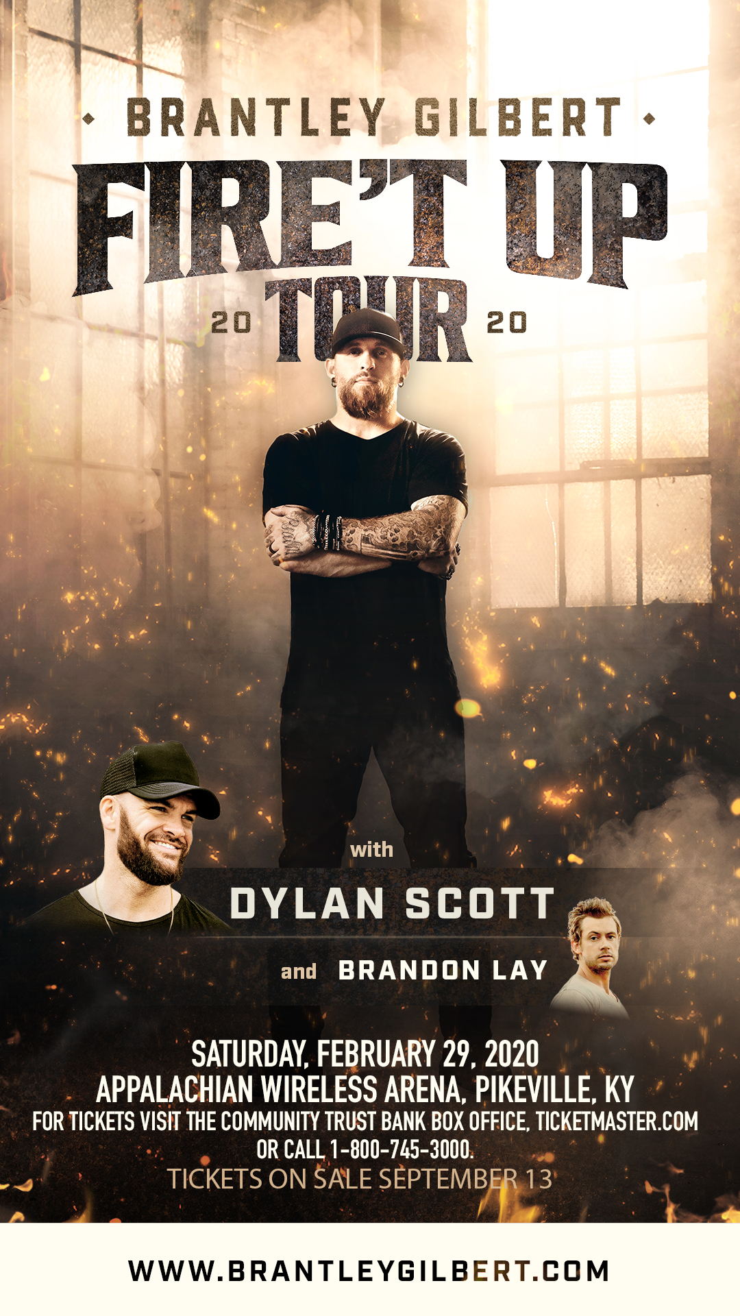 Brantley Gilbert Tour 2020.Brantley Gilbert Fire T Up Tour 2020