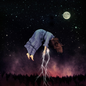 This is a square colour image of a woman floating in a dark star lit sky. She is wearing a dark long floaty dress that has hints of purple and blue. She has long ginger hair that is swooshing throughout he air. Her body is curved over with her hands outreached. Bright white lightening bolts stream from her hands downward throughout the sky.  At the bottom of the image the sky is lit in tones of pink and pale red with the silhouette of trees beneath. A full moon hangs in the dark sky to the right side of the image.