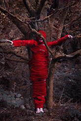 This is a colour portrait image of a man screaming as he stands tied to a tall tree in a forest. He is bound by red string that covers the majority of his body except for his mouth, hands and feet. The forest around him is in tones of orange and brown which makes the red string stand out in the image.