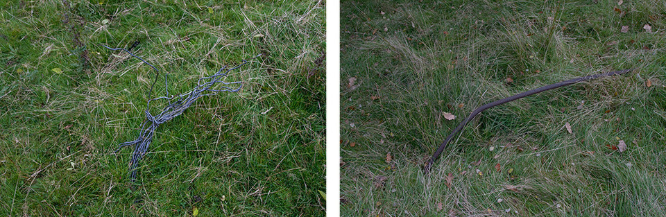 Both images on the left and right are of metal threads protruding from grassy ground. Relics of the landscape's industrial past with nature now reclaiming the once barren earth.