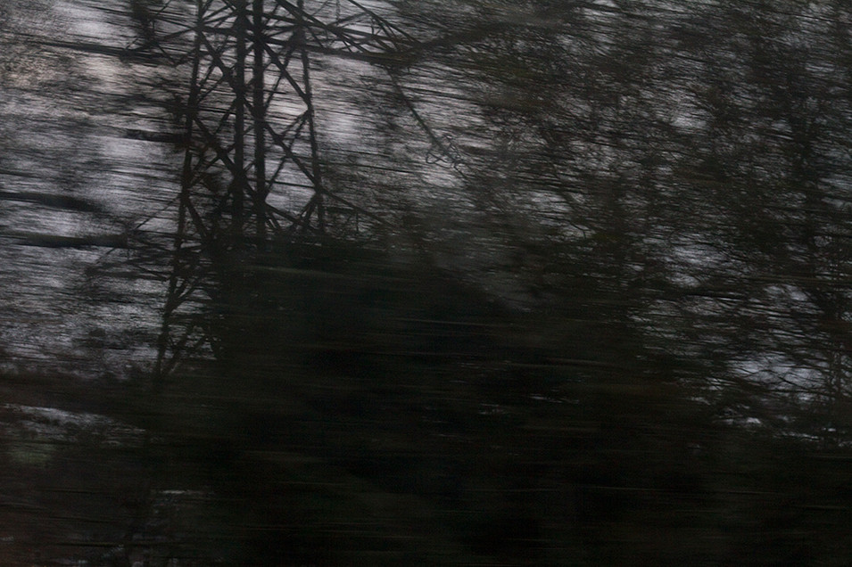 This is a dark scene of blurred trees, bare of leaves in Winter and an electrical pylon. The image is deprived of colour with only shadows of a dimly lit landscape on display.