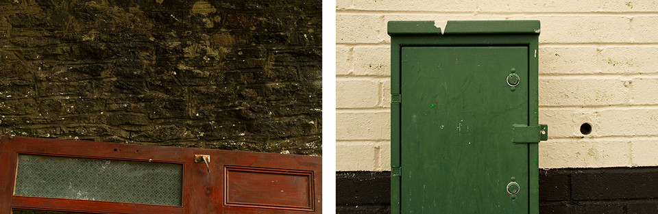 Left: This is a photo of a dark brown traditional stone wall. At the bottom section of the image is a mahogany coloured door on it's side. The door has a frosted and patterned window pane and a golden door handle.  Right: This is a picture of a green metal electrical box on a street. Behind is a freshly painted wall. The top three quarters are in a creamy colour. The bottom quarter is black.