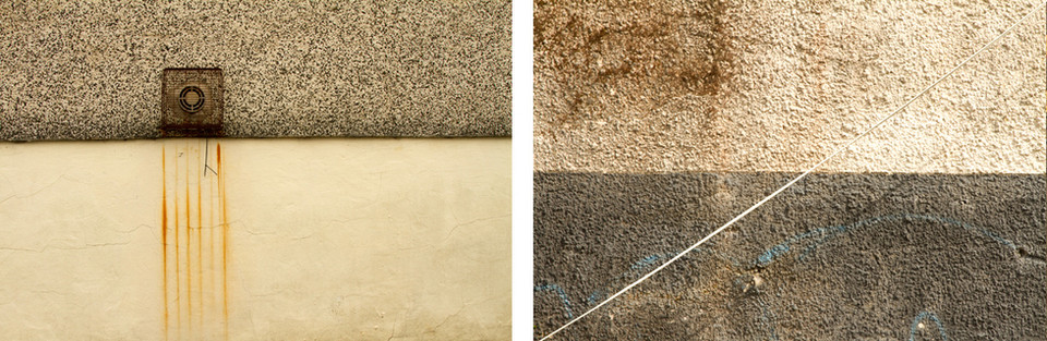 These are photographs of two exterior walls side by side. Both images are split into two colour blocks that compliment each other with similar colour tones but contrast each other in opposite postings of these colour blocks. The picture on the left has a darker section on the top and a paler creamy section underneath. The photograph to the right has the opposite with a lighter cream colour on top and darkener underneath. A rusted metal cage protrudes from the wall in the left image and a white cable runs across the image on the right.