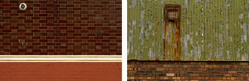 These image is made up entirely of textured wall space. The image on the left has three sections, the top section extends down two thirds of the length of the image and is made p from deep red bricks. A white line of painted wall forms a barrier between the glossy deep red bricks above and the painted dull bricks below. A round white plastic pipe can be seen poking out of the wall in the top left section of the image. Right: The larger top section, which also tapes up about two thirds of the image, is of green corrugated metal panelling. The paint is faded and pealing off in large chucks to reveal a murky grey odour underneath. Beneath the metal panels is a red bricked wall. In the top left side of the image protrudes a square rusted metal cage which cases a ventilation port. Rust marks extend down the wall from this in long stripes.