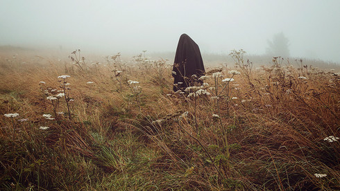 This is a long landscape image of a misty field with tall white flowers. The long grass is coloured in dark browns and reds as though it was Autumn. Amongst the fog is a figure draped in black fabric stood still amongst nature. The figure's head is slightly bowed, as in contemplation.
