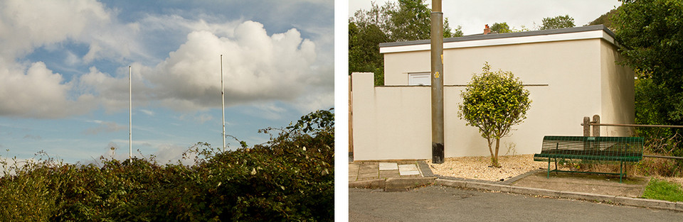 Left: This is an image of a green hedge made of brambles and ivy. Behind this is a lovely blue sky with white clouds. Two white rugby poles are raised up into the sky from behind the hedge. Right: This is a scene of a green metal bench, a freshly painted garage and a newly planted small tree on the side of a road.