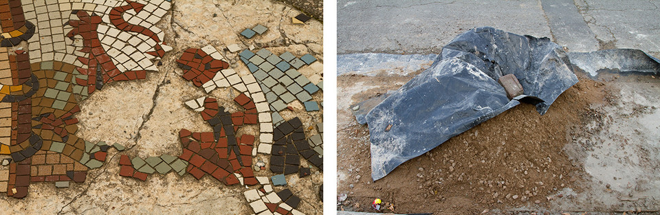 Left: This was once a beautiful mosaic made of small tiles about an inch squared in size of a Welsh red dragon. Age has damaged it beyond repair with many pieces missing and the shape of the dragon now almost unrecognisable.  Right: There is a pile of earth piled into a large heap on a street. A black plastic liner is held down on part of the heaped earth by a singular stone brick. This attempt to conceal or cover seems comical in that it the sleuth is far too small and much of the soil is exposed.