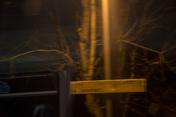 This is a blurred image taken at night of a train station sign that reads 'Treherbert' The sign and a bare tree behind are lit by the yellow glow of a nearby lamp that is out of shot. A faint reflection of the carriage can be seen in the dark black night in the left hand side of the image.