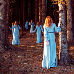 This is a colour square image of a pine forest scene with beams of golden orange light piercing through to illuminate small sections of the trees and ground. This golden coloured light contrasts against the blue dresses worn by six identical female figures that are wandering through the forest scene. These figures all have ginger long hair and pale skin. Each is navigating around the scene as if they were in search of something. They are wearing a long flowing dress with long sleeves.