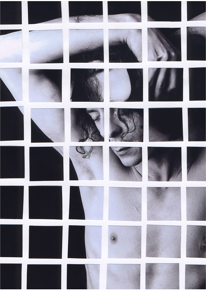 This is a black and white portrait image of a man's head, chest and torso. He is unclothed and appears to be vulnerable. His arms are raised up, holding on to the sides of his head. His eyes are closed and he is looking downwards in a melancholic manner. The image has been cut up into small squares that have been arranged so that each has a small white gap in between them. This creates a distorted appearance to the photograph.