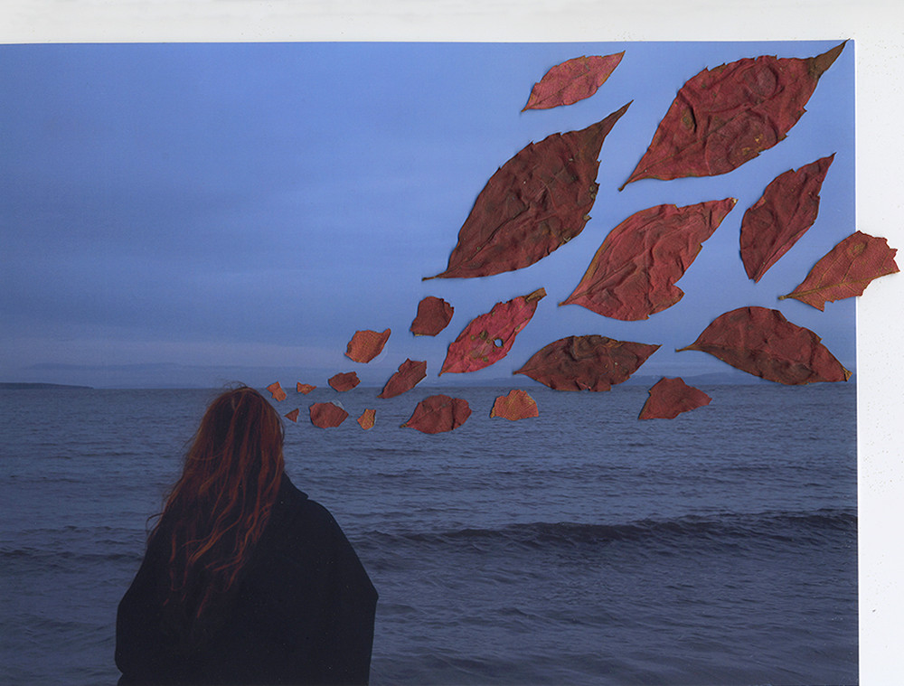 This is a landscape photograph of a woman with long ginger hair stood in front of a seascape that reaches out into the distance and meets a cloudy horizon in the middle of the image. She is wearing a long black cloak and is facing away from the camera and looking out into the distance. The image is coloured in tones of dark blues, as though the image was taken at dusk or dawn and so has a melancholic feel. To the right side of the woman are red leaves that have been glued onto the photograph. From left t right the increase in size and appear to be flowing from the woman's head. Perhaps they represent her thoughts, floating away in the wind.