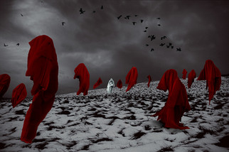 This is a colour image of a snowy landscape scene in a field with a gloomy and stormy sky behind which sets an atmospheric and imposing mood. Numerous red floating cooked figured stand in the image, all facing different directions. A single white cloaked figure levitates in the centre of the image, separate from the others and looks directly towards the camera. Crows fly in the distance behind this scene.