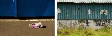 Left: A children's discarded old teddy toy in tones of pink has been torn apart and left on a grey tarmac road. A bold royal blue metal building is stood behind.  Right: This is a photograph of the back of football stands where spectres to a game can sit and watch. The walls of the building are made from white breeze blocks at the base and metal corrugated panels anted in a pale turquoise colour. The pain is fading and peeling off in large sections, exposing white metal underneath. On the brick walls is black spray painted graffiti which reads, 'weed 4 life' and 'Nathan G 2 K 17.' A layer of overgrown grass takes up the bottom section of the photograph.