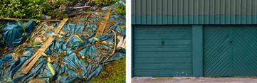 Left: This is a picture of a very large turquoise plastic sheet that is laying on the floor. Beams of wood hold it tight to the ground. Dead leaves have collected in the wrinkles of the plastic. Right: Matching the turquoise tones of the other image, this photo is of two garage doors painted in a deep colour. The door to the left has horizontal panelled lines and the door to the right, diagonal panelled lines that extend from the middle sections outwards. Above is corrugated metal with verbal lines.