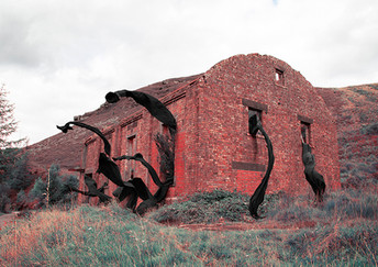 This is a colour landscape image in limited and unnatural tones of red and bluey-greens. The image itself is of a large old derelict red brick building. This building is sat in front of a wild landscape of rocky mountains that extend up in the picture. Tall overgrown grass surrounds the red building and a tree grows from out of one of it's tall and long windowless windows. Long lengths of black fabric pour out from and float into the air from five windows; two on the end of the building and three from the side. They appear like giant arms grabbing through every possible large gap in the walls, spilling out and becoming part of the landscape.As strange as the scene is with the unusual colours and black tentacles reaching out as though they were alive and full of purpose, they don't feel immediately intimidating.  The building itself has a story of it's fall from use to abandonment; a hidden history that is asking to be recognised.Burnt heather in reddish brown tones cling to a mountain behind and a windmill stands almost obscured in the far left of the photograph behind bright greeny-blue pine trees.