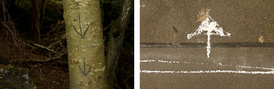 Left: This is a photo of a thin tree trunk with two arrows drawn on pointing downwards. Behind is a dark forest scene. Right: This is a photo of a tarmac floor with a thick white arrow drawn on in chalk. The arrow is facing upwards and has two lines drawn underneath.