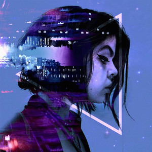This is a square colour photograph of a woman with jaw length black hair facing the camera side on and looking towards the right side. The entire image is in pink, purple and black tones. There are other photos added on to this picture to create a double exposure effect. The other images are a city skyline and train tracks. A white triangle shape also floats around the woman's head. Speckled stars can be seen on the right side on top of a pale blue sky.