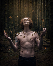A slender man stands topless with his arms bent and stretching outwards. His head is also looking upwards with his eyes closed as a few dozen orange and brown coloured moths flutter around him and sit upon his face, chest and hands. The scene is in a woodland area with tall trees behind. A warm glow surrounds the scene, as if it were by magic that these moths are drawn to the man.