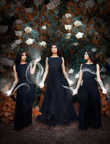 This is a colourful portrait image of a magical scene in which three women, all identical to each other swirl magical dams of light between each other. They are all stood next to each other in a forest scene where the tree behind has beautiful large white flowers. The woman are wearing long flowing black dresses.
