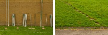 Left: Both images are made from grass verges and brown sections of walls and tarmac. The lines between them run parallel but with opposite colours at each section. The photo on the left has grass at the bottom and a bricked wall above. Rows of metal scaffolding poles are leaning against the wall. Right: This contrasting image has a thin slither of tarmac at the bottom of the image, with green grass occupying the rest. A pathway moves from the bottom right towards the upper left of the photograph.