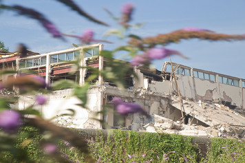 In the foreground of this image are blurred purple butterfly bushes. Behind is a white two story building in ruins with sections bulldozed down. The building no longer has a roof but many window panes still remain. There is a wonderful blue sky behind. Bricks and mortar lay crumbling around the scene.