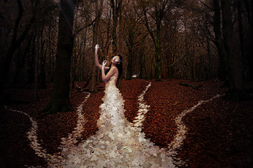 This is a landscape image of a forest in Winter with brown and red leaves on the floor and the trees naked and bare. A woman is stood centrally in the photo, wearing a white dress made of sycamore leaves that extend down to the floor and trail behind her in four long paths into the distance. The woman has black hair and olive coloured skin. She is wearing white make up around her eyes and on her hands which are rising up towards the sky in a mystical pose.
