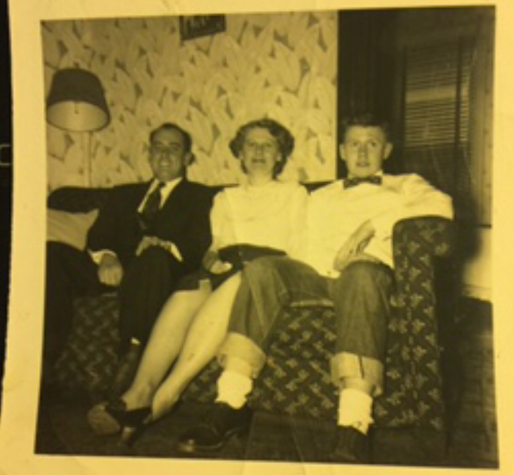 Dad on couch with his parents in E. St. Louis, IL (c. 1957)
