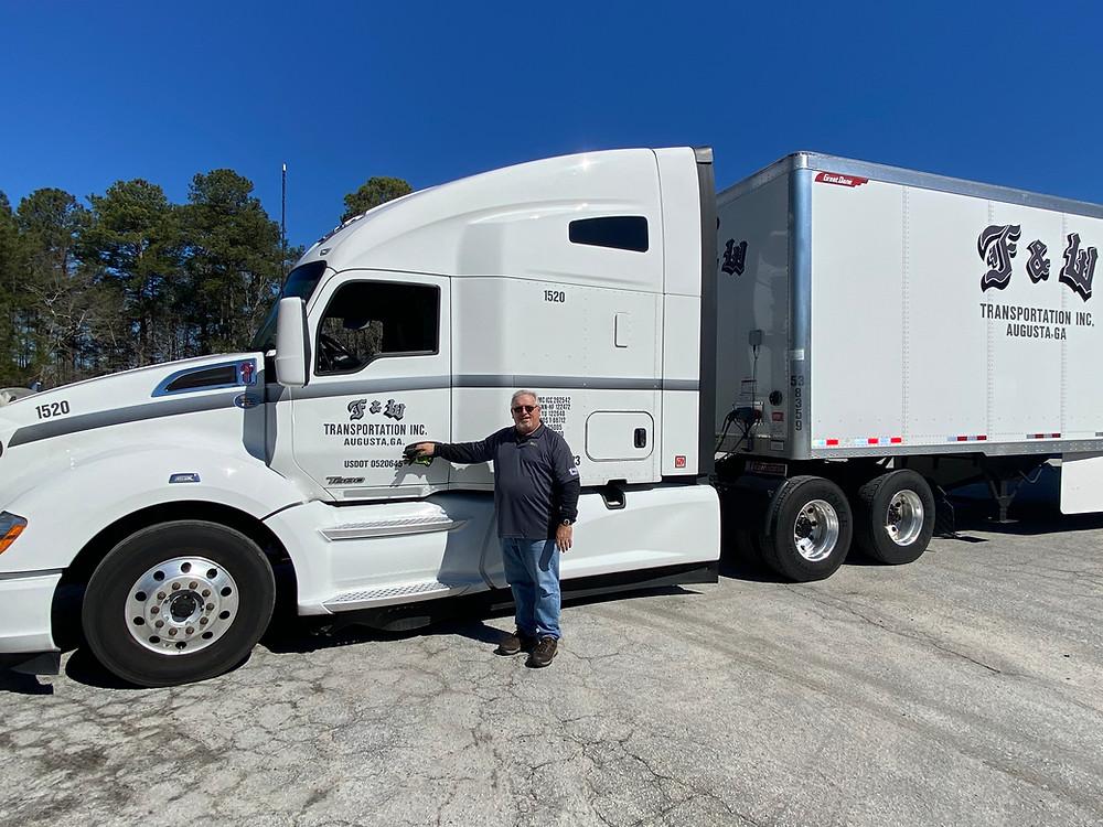 Augusta Ga Trucking company, F&W Transportation, water donation to Texas,