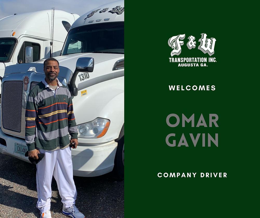 augusta georgia trucking company, F&W Transportation, new hire, company truck driver