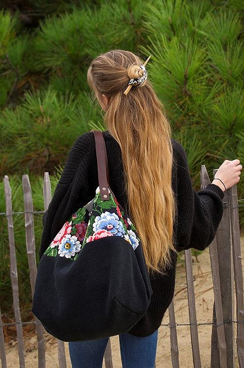 CARAIBES - cabas fleuri & noir