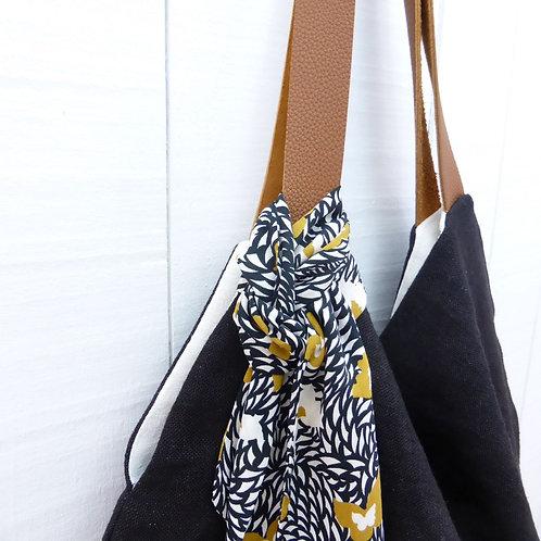 MATIRA- sac lin & cuir - noir