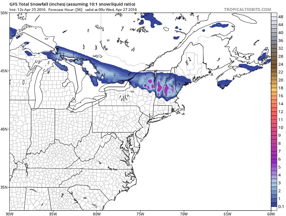 GFS Snowfall Forecast Through 8 PM Tuesday