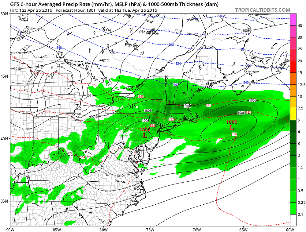 GFS Surface Pressure & Precipitation 2 PM Tuesday