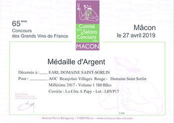 Diplôme Mâcon 2019 Argent Cöte à Papy 20
