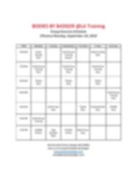 BODIES BY BADGER Class Schedule 09-29-20