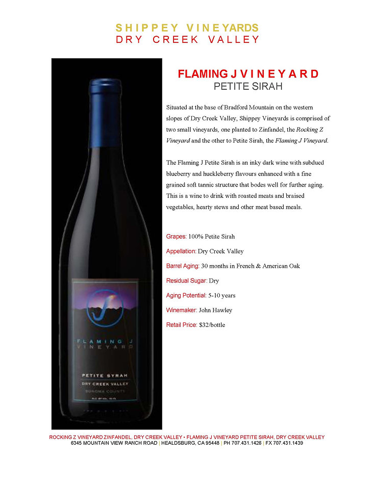 Bottle Shot of Flaming J Petite Sirah