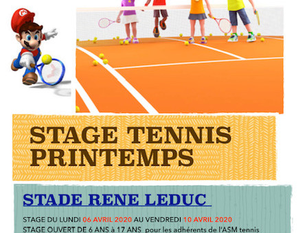 Stage Ecole de Tennis (Printemps 2020)