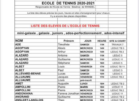 Liste réactualisée des élèves de l' Ecole de Tennis Saison 2020-2021