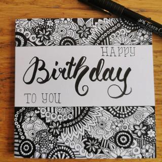 Happy Birthday schwarz/weiss