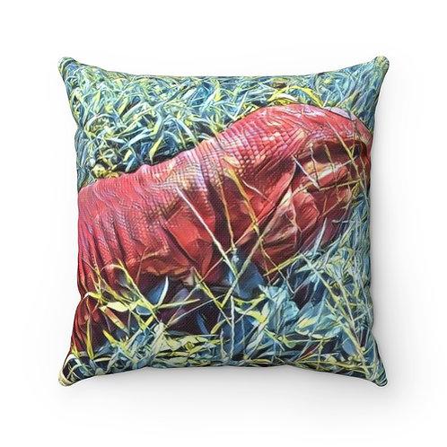 Red Tegu Lizard Square Pillow, Tegu, Lizard, Reptile, Dragon, Tegu World