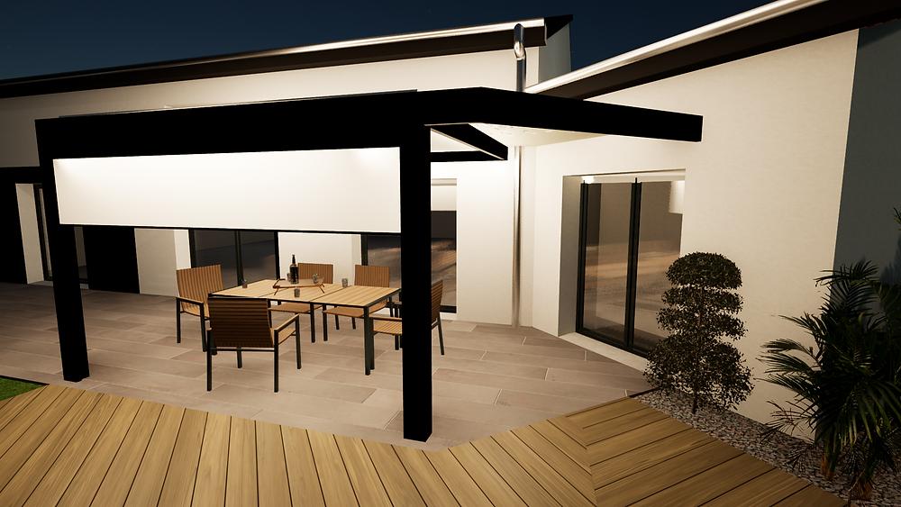 Projection graphique en plan 3D de la poutre en diagonale de la pergola bioclimatique sur-mesure avec claustra Sol Design Solembra à Viriat près de Bourg-en-Bresse dans l'Ain vue de nuit sur la terrasse